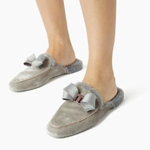 Ted Baker London Bhaybe Grey Rosegold Fur Fluffy Cozy Mule Slippers sz 9.5